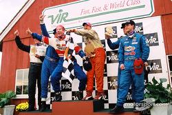 Podium: race winners Randy Pobst and Michael Levitas, with Devon Powell, Doug Goad, Geoff Escalette and Hugh Plumb
