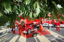 Team Peugeot service area