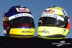 Juan Pablo Montoya and Ralf Schumacher's helmets