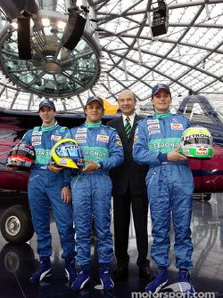 Test driver Neel Jani, Felipe Massa, Peter Sauber and Giancarlo Fisichella