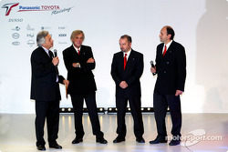Gustav Brunner, Mike Gascoyne and Luca Marmorini before the unveiling of the Toyota TF104