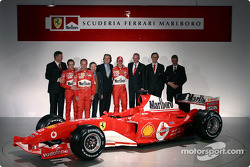 Ross Brawn, Luca Badoer, Rubens Barrichello, Jean Todt, Luca di Montezemelo, Michael Schumacher, Rory Byrne, Paolo Martinelli and Piero Ferrari