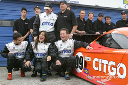 Spirit of Daytona Racing drivers Doug Goad, Stephane Gregoire, Robby Gordon and Milka Duno have fun during a photo shoot