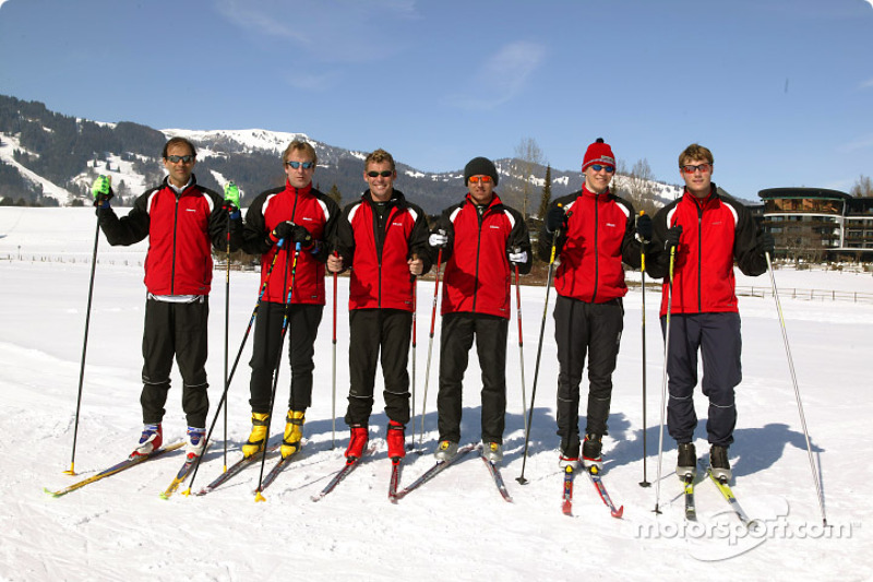 Audi DTM drivers Emanuele Pirro, Frank Biela, Tom Kristensen, Christian Abt, Mattias Ekström and Martin Tomczyk