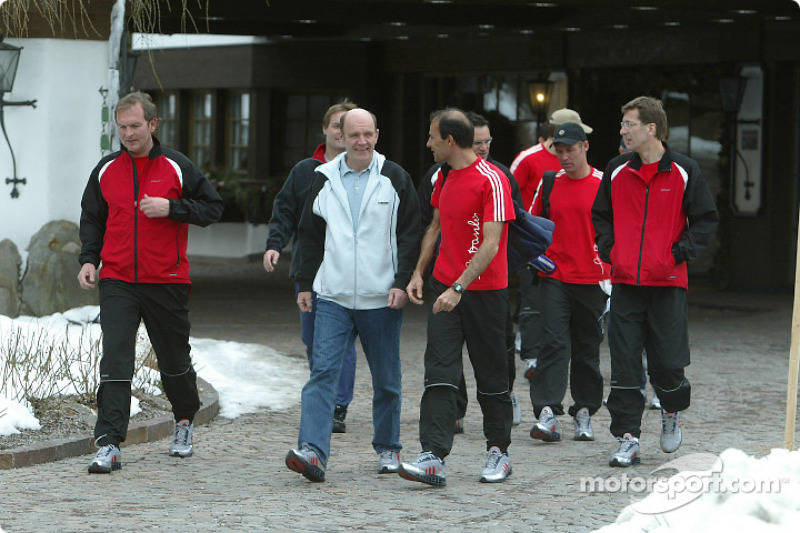 Head of Audi Motorsport Dr Wolfgang Ullrich with a part of his squad