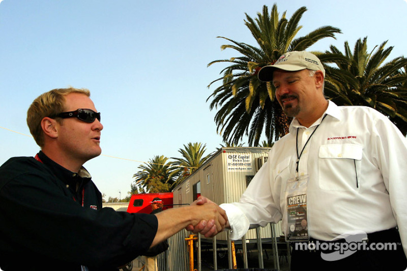 Tommy Kendall congratulates former championship rival Paul Gentilozzi on his new CART team