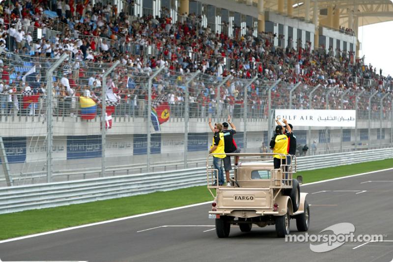 Fahrerparade: Nick Heidfeld, Gianmaria Bruni, Giorgio Pantano und Zsolt Baumgartner