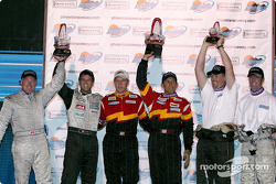 Podium: race winners Craig Stanton and Terry Borcheller, with Greg Wilkins, Robert Julien, and Blake Rosser and Kelly Collins