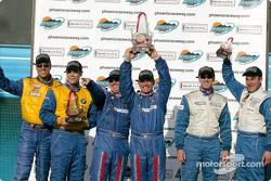 Podium: race winners David Haskell, Sylvain Tremblay, with Will Turner, Don Salama, and Eric Curran, Bob Beede