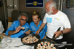 Renault F1 team dinner with Jarno Trulli's dad Enzo: Flavio Briatore, Jarno Trulli and Enzo Trulli