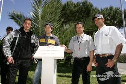 Bernd Schneider, Heinz-Harald Frentzen, Jean Alesi and Emanuele Pirro pay tribute to Ayrton Senna at the inauguration of the 'Ayrton Senna Square' in Estoril