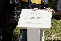 Ayrton Senna monument at the 'Ayrton Senna Square' in Estoril