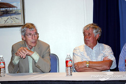 Brian Redman listening to Vic Elford tell tales