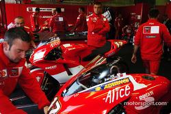 Ducati mechanics at work
