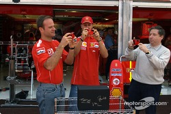 Olympus media event: Rubens Barrichello, Michael Schumacher and Jean Todt
