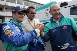 Giancarlo Fisichella and Peter Sauber celebrate 6th place finish