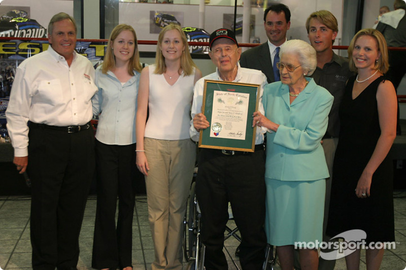 Papa Joe Hendrick award event: Papa Joe and Mary T. Hendrick with the Order of the Long Leaf Pine and their family