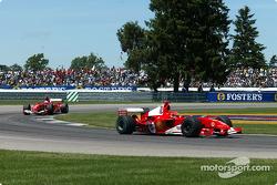 Michael Schumacher leads Rubens Barrichello