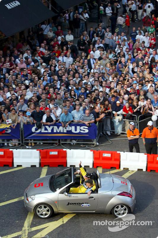 Nigel Mansell in a Ford Ka