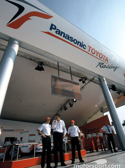 Olivier Panis and Cristiano da Matta in the Toyota Racing merchandising booth