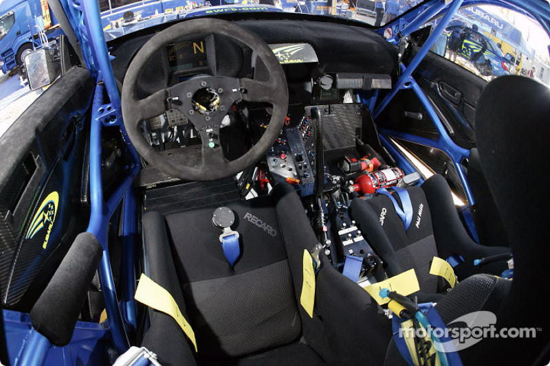 the cockpit of petter solberg 39 s subaru impreza wrc04 at rally finland. Black Bedroom Furniture Sets. Home Design Ideas