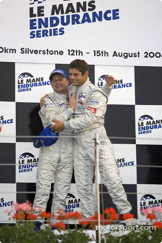 Podium LM P1 et général : les vainqueurs Allan McNish et Pierre Kaffer