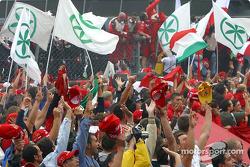The tifosi celebrate