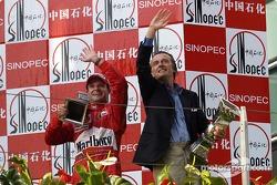 Podium: race winner Rubens Barrichello with Luca di Montezemelo