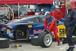 Brumos Racing crew members get ready for the race