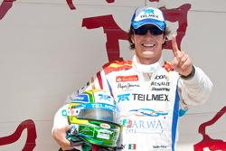 Sergio Perez celebrates his pole position