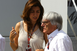 Bernie Ecclestone and Fabiana Flosi Brazilian Grand Prix Vice-President of Marketing and girlfriend of Bernie Ecclestone