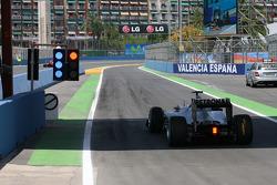 Michael Schumacher, Mercedes GP awaits to leave the pit lane