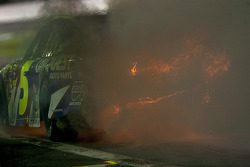 Officials and the fire safety crew rush to Mark Martin, Hendrick Motorsports Chevrolet