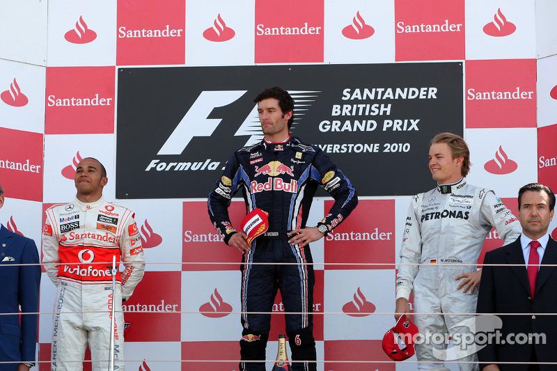Podium: race winnaar Mark Webber, Red Bull Racing, 2de Lewis Hamilton, McLaren Mercedes, 3de Nico Rosberg, Mercedes GP