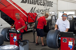 Bridgestone tyre technicians at work