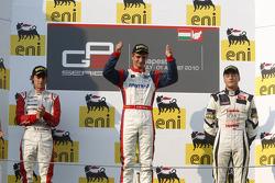 Nico Muller celebrates victory on the podium with Esteban Gutierrez and Stefano Coletti