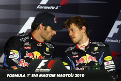 Persconferentie: winnaar Mark Webber, Red Bull Racing, 3de Sebastian Vettel, Red Bull Racing