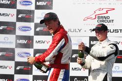 Race winner Jolyon Palmer celebrates with second placed Dean Stoneman