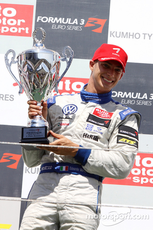 Podium: winnaar Edoardo Mortara, Signature, Dallara F308 Volkswagen
