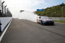 Robert Doornbos performs a demonstration in the NASCAR Red Bull Toyota