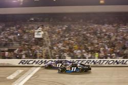 Denny Hamlin;Joe Gibbs Racing Toyota takes the checkered flag
