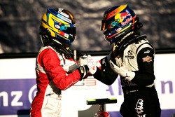 Esteban Gutierrez celebrates victory in parc ferme with Robert Wickens