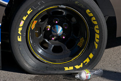 Flat tire on the winning car