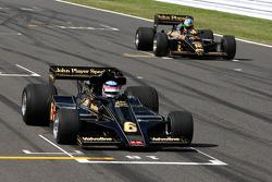 Takuma Sato drives the 1976 Lotus Ford of Gunnar Nilson, Bruno Senna, Hispania Racing F1 Team drives the 1986 Lotus Renault Turbo of Ayrton Senna