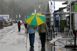 Paddock in de regen