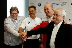 BMW returns to DTM press conference: Mercedes-Benz Motorsport director Norbert Haug, BMW Motorsport director Dr. Mario Theissen, head of Audi Sport Dr. Wolfgang Ullrich and ITR president Hans-Werner Aufrecht