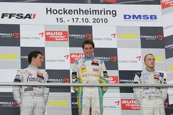 Podium: race winner Daniel Juncadella, Prema Powerteam Dallara F308 Mercedes, second place Roberto Merhi, Muecke Motorsport Dallara F308 Mercedes, third place Laurens Vanthoor, Signature Dallara F308 Volkswagen