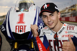 Race winner and 2010 MotoGP champion Jorge Lorenzo, Fiat Yamaha Team celebrates
