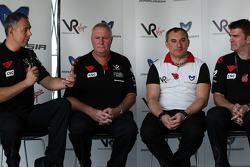 Nick Wirth Virgin Racing Technical Director; John Booth Virgin Racing Team Principal; Nikolay Fomenko Marussia Motors Presidentand Graeme Lowdon Chief Executive of Virgin Racing at a press conference where Virgin Racing announced that Marussia have acquir