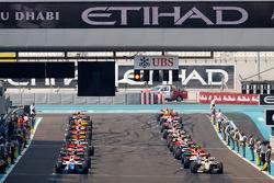 GP2 cars on the grid